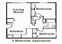 Whispering Pines 2 Bedroom Apartment Floor Plan