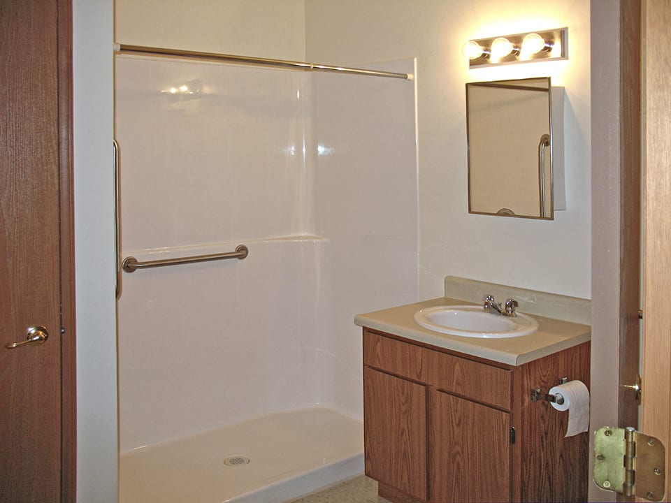 Whispering Pines bathroom with walk-in shower